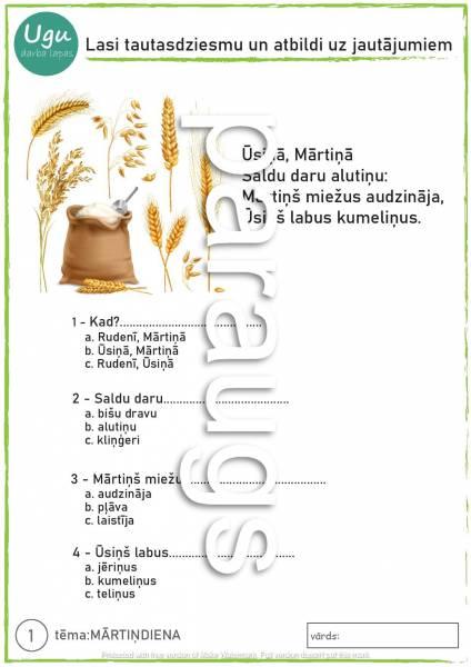 Darba lapas «MĀRTIŅDIENA» lasītā izpratnes veicināšana 📖