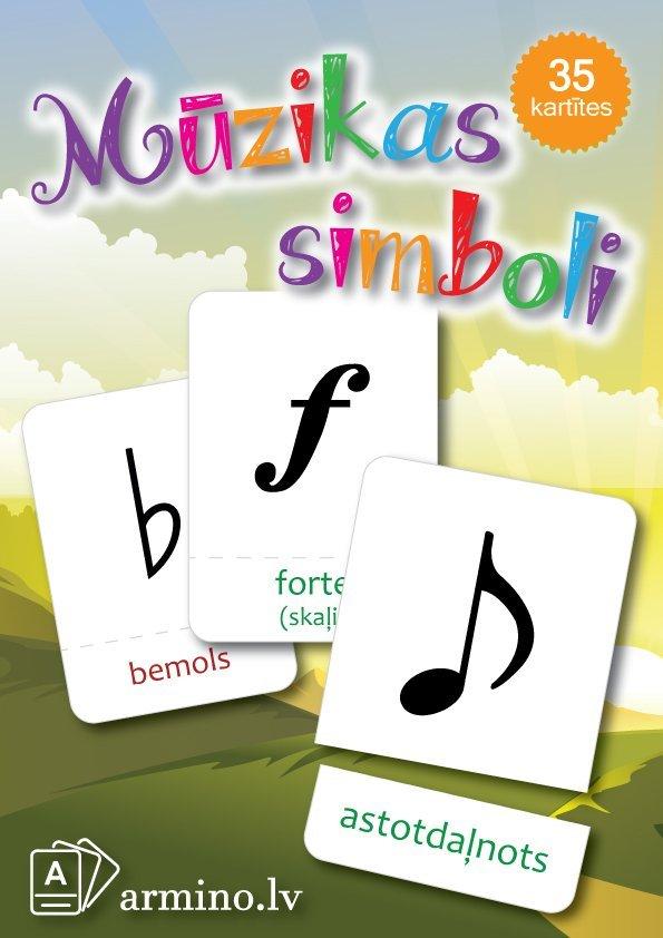 """Printējamas kartītes """"Mūzikas simboli"""""""