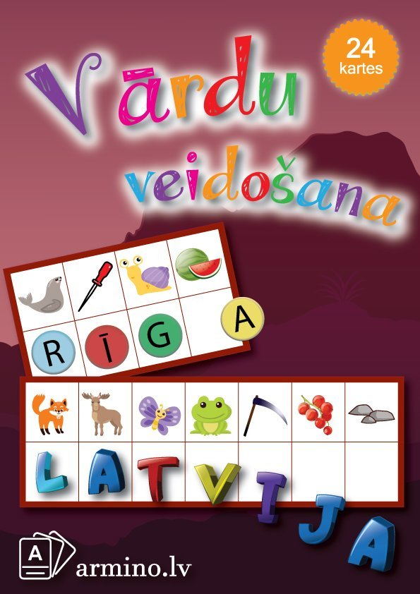 """Kartes """"Vārdu veidošana """"Latvija"""""""""""
