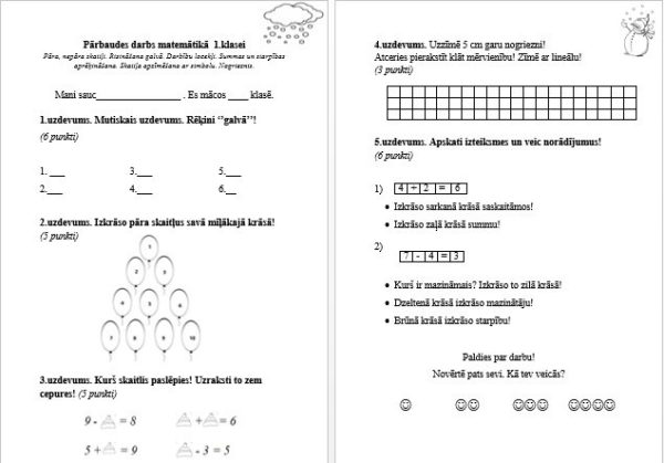 Trešais pārbaudes darbs 1. klasei matemātikā.