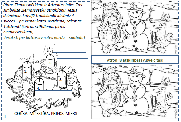 Ziemassvētku uzdevumu grāmatiņa 1.klasei