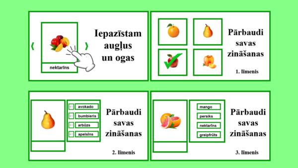 Interaktīvais mācību materiāls augļu un ogu apguvei