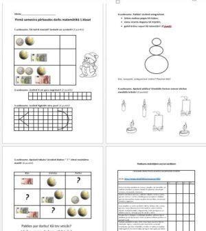 Pirmā semestra pārbaudes darbs matemātikā 1. klasei