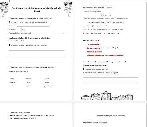 Pirmā semestra PD latviešu valodā pirmajai klasei.