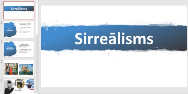 """Prezentācija """"SIRREĀLISMS + 1 mācību uzdevums"""""""