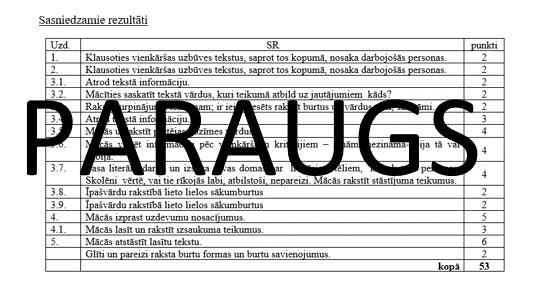 Pārbaudes darbs latviešu valodā 1.klasei 1.3.
