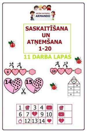Darba lapas – Valentīndienas matemātika 1-20