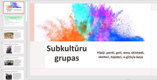 """Prezentācija """"SUBKULTŪRU GRUPAS + 1 mācību uzdevums"""""""