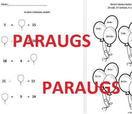 Darba lapas matemātikā 1.klasei!
