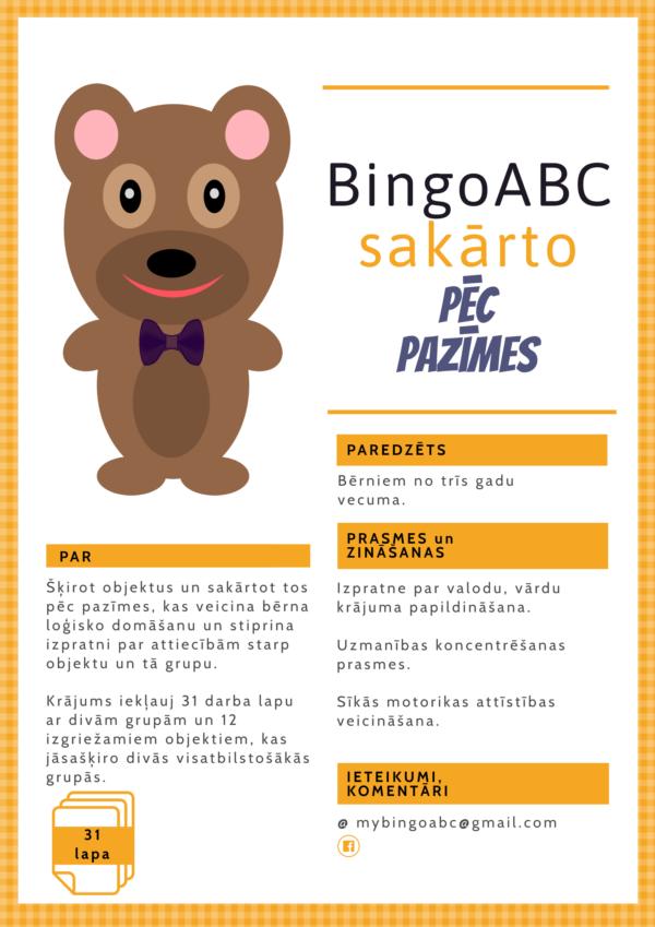 BingoABC sakārto pēc pazīmes