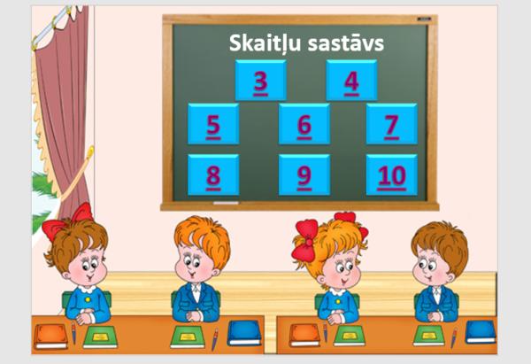 «Matemātikas stunda» (spēle «Skaitļa sastāvs 10 apjomā»)