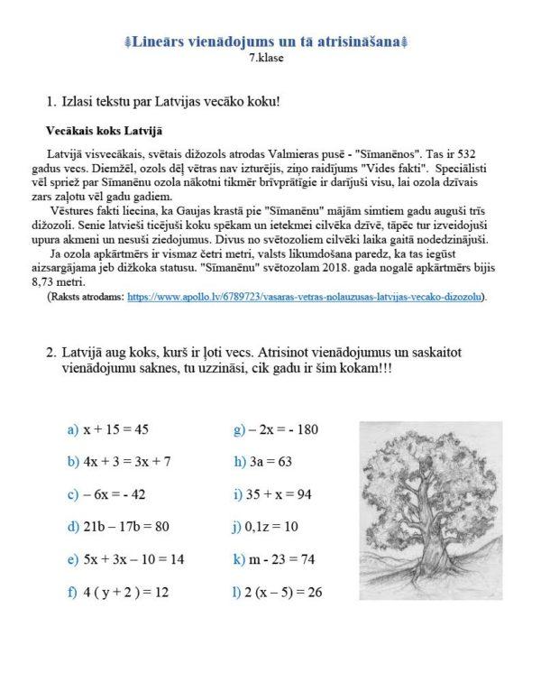 Lineārs vienādojums un tā atrisināšana