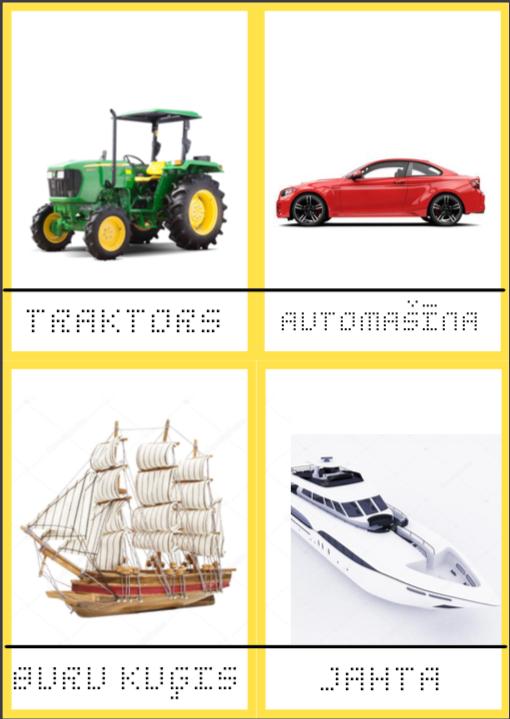 Transporlīdzekļu kartītes (4 komplekti)