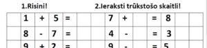 Risināšanas uzdevumi matemātikā 1.klasei