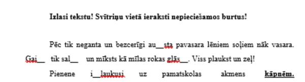 Darbs latviešu valodā.