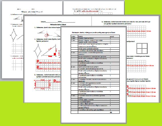 Pārbaudes darbs matemātikā 2. klasei.