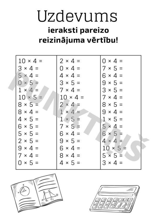 Reizrēķins × uzdevumi (un atbildes)