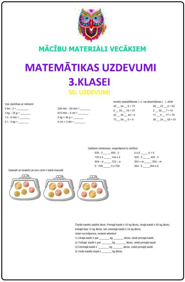 Matemātikas uzdevumi 3.klasei