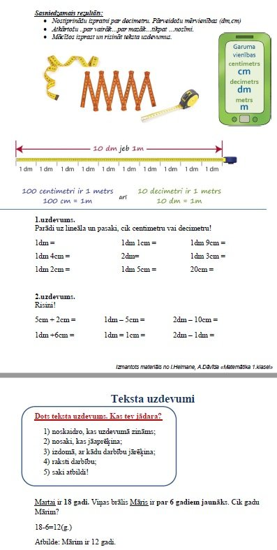 Tiešsaistes stundu materiāli matemātikā (1.klase)