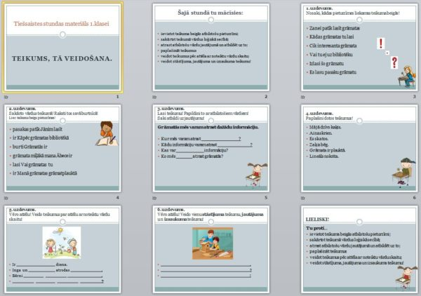 """PD 1.klasei """"Teikums,tā veidošana""""+ PDF tiešsaistes stundai"""