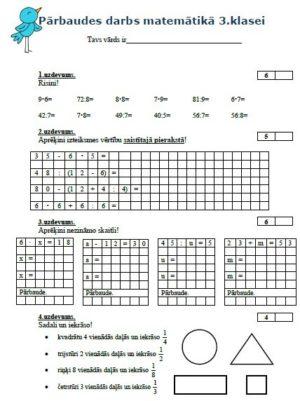 PD matemātikā 3.klasei