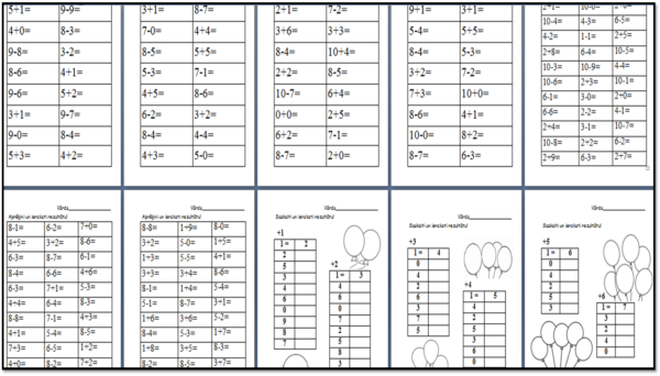 Matemātika – saskaitīšana un atņemšana pirmajā desmitā.