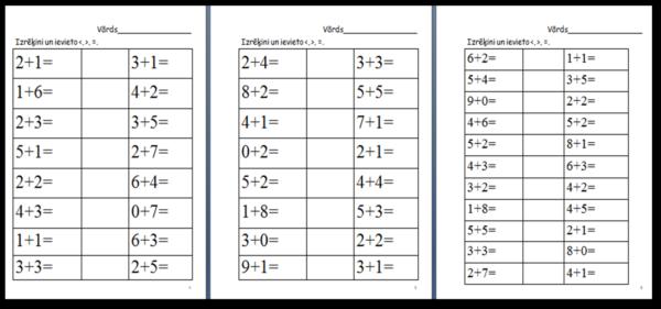 Matemātika – lielāks, mazāks, vienāds pirmajā desmitā