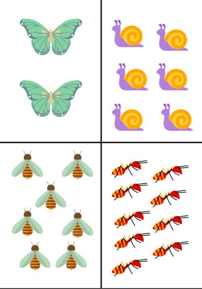 Skaitīšanas kartītes (kukaiņi un ziedi)