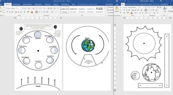 Zeme,Saule,Mēness 4 modeļi praktiskai darbībai,pētījumam 1kl