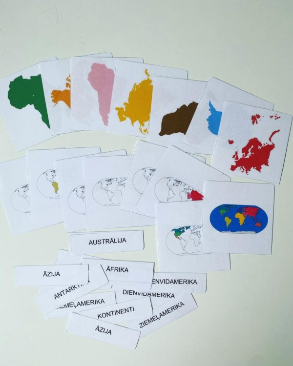 kontinenti – kartiņas