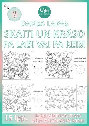 """Darba lapas """"SKAITI UN KRĀSO_PA LABI VAI PA KRESI"""" 15 lpp."""
