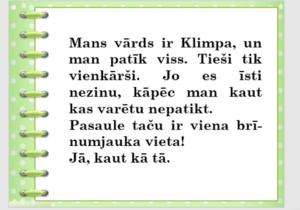 """Latviešu valodas stunda """"Es esmu Klimpa un man patīk viss"""""""