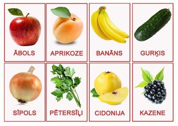 Kartiņas ar augļu/dārzeņu/ogu attēliem