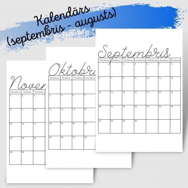 Kalendārs (septembris – augusts)
