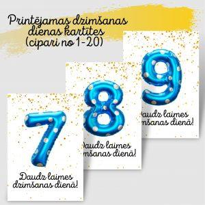Dzimšanas dienas kartītes ar ziliem baloniem