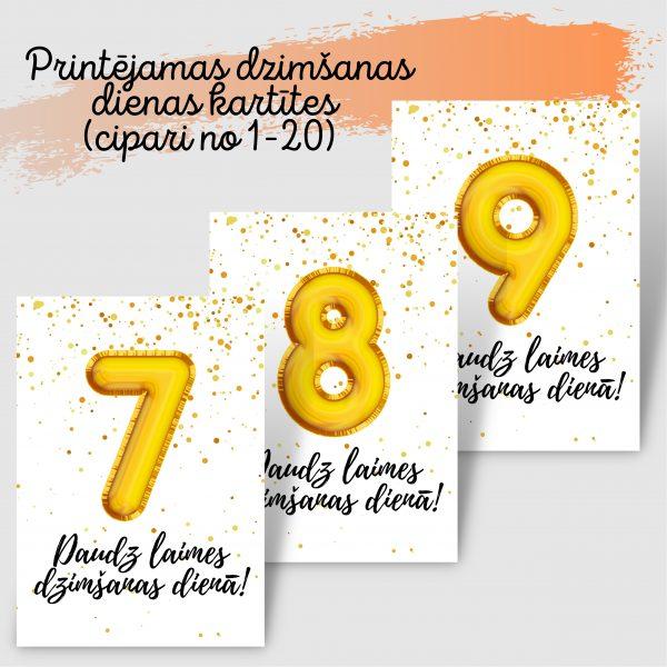 Dzimšanas dienas kartītes ar zelta baloniem
