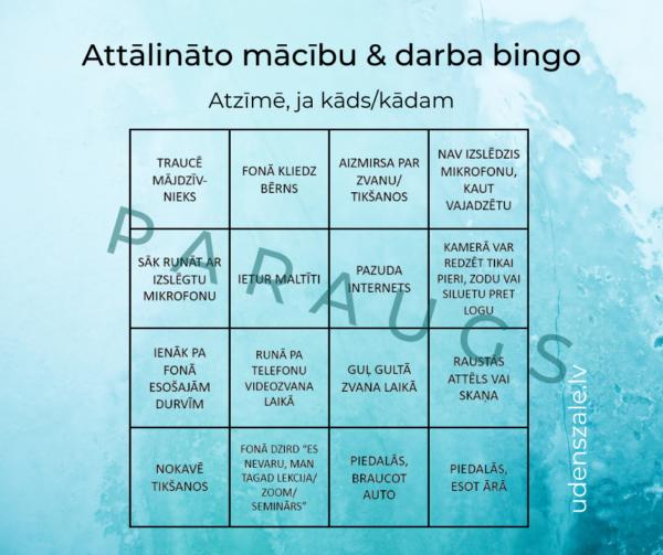 Spēle – attālināto mācību un darba bingo