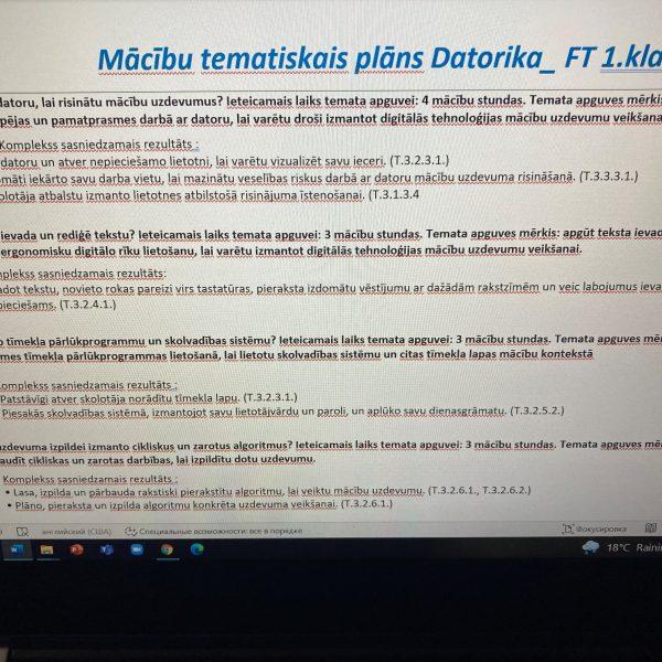Tematiskais plānojums Datorikā 1.klasē