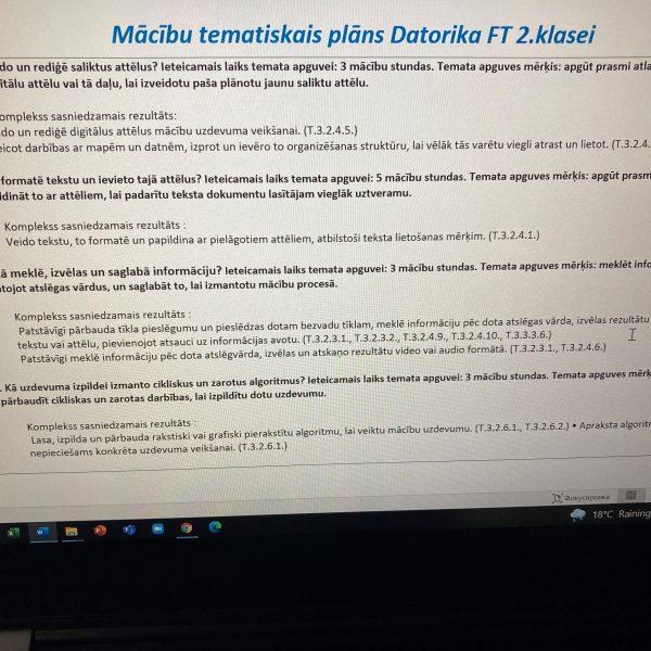 Tematiskais plānojums Datorika 2.klasei
