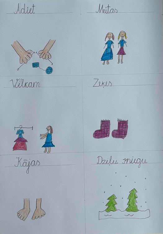 """1.3 Vizuālas zīmes """"Ilustrē tautasdziesmu"""" 3.uzd. 1.klasei"""