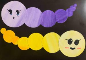 """1.4 Ilustrācija. Akvarelis """"Emociju tārpiņi"""" 3. uzdevums."""