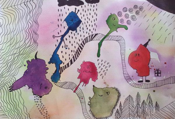 """1.4 Akvarelis. """"Akvareļkrāsu pludināšana un fantāzija""""4.uzd."""