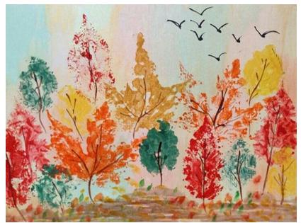 Koki rudenī. Krāsu kompozīcija.