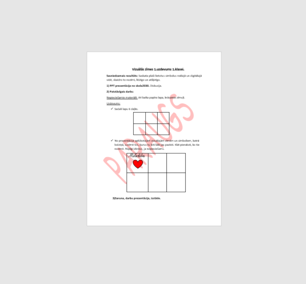 1.3 Vizuālās zīmes. 1. uzdevums 1.klasei
