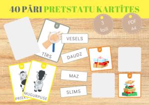 KOMPLEKTS Pretstatu kartītes/Atmiņas spēle+Vārdi