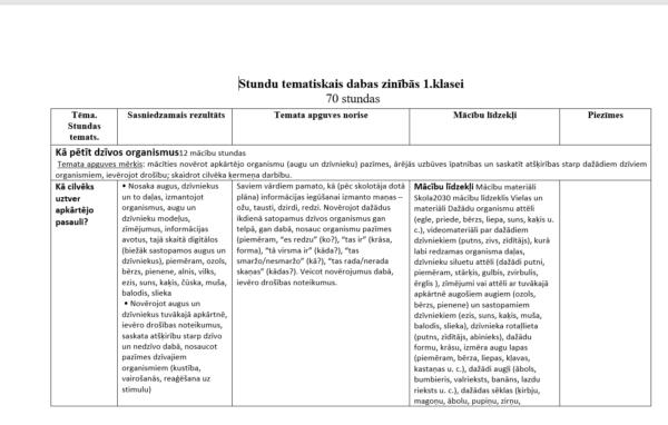 Septiņi tematiskie plāni 1. klasei
