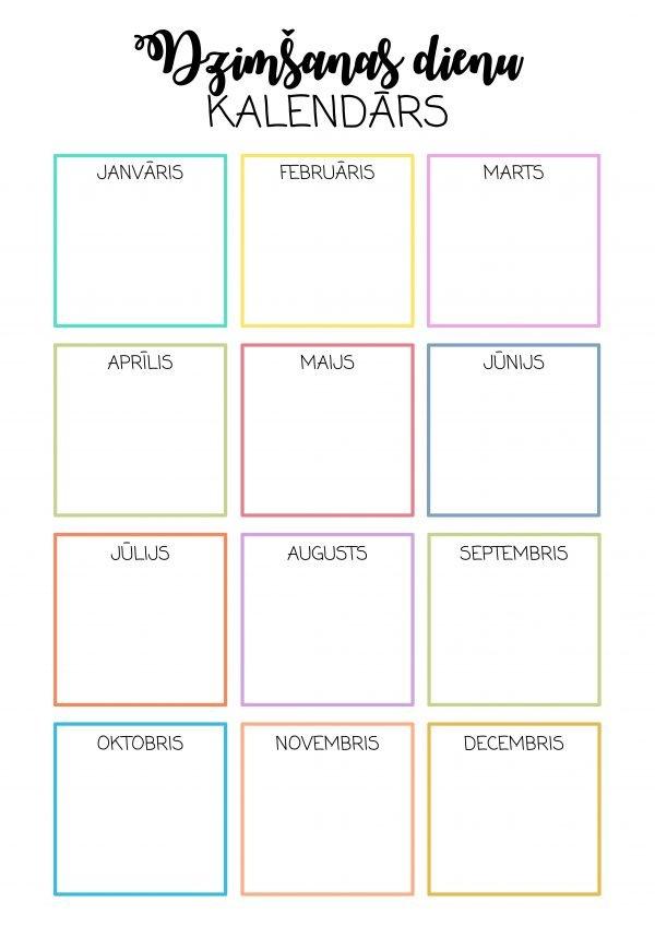 Dzimšanas dienu kalendārs (krāsaini kvadrāti)