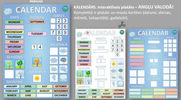 KALENDĀRS. Interaktīvais plakāts – ANGĻU VALODĀ