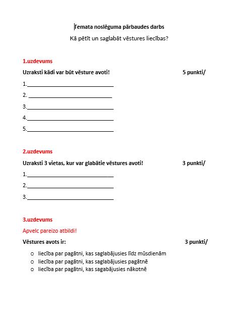 Sociālās zinības un vēsture – Pārbaudes darbs 5.klase – 5.1.