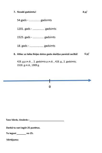 Sociālās zinības un vēsture – Pārbaudes darbs 4.klase – 4.1.